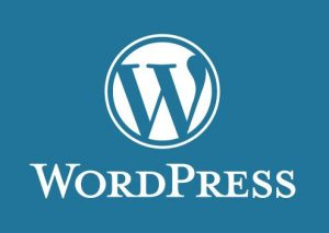 WordPress logo with blue text (WordPress) and a white background