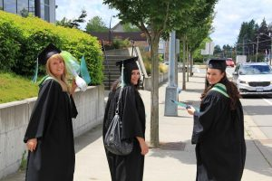Three women wearing graduation gowns and caps looking over their shoulders.