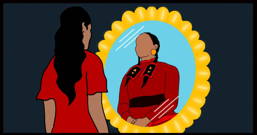 A young Indigenous woman wearing red looks in a mirror, and sees an elder wearing the same colour reflected back at her.
