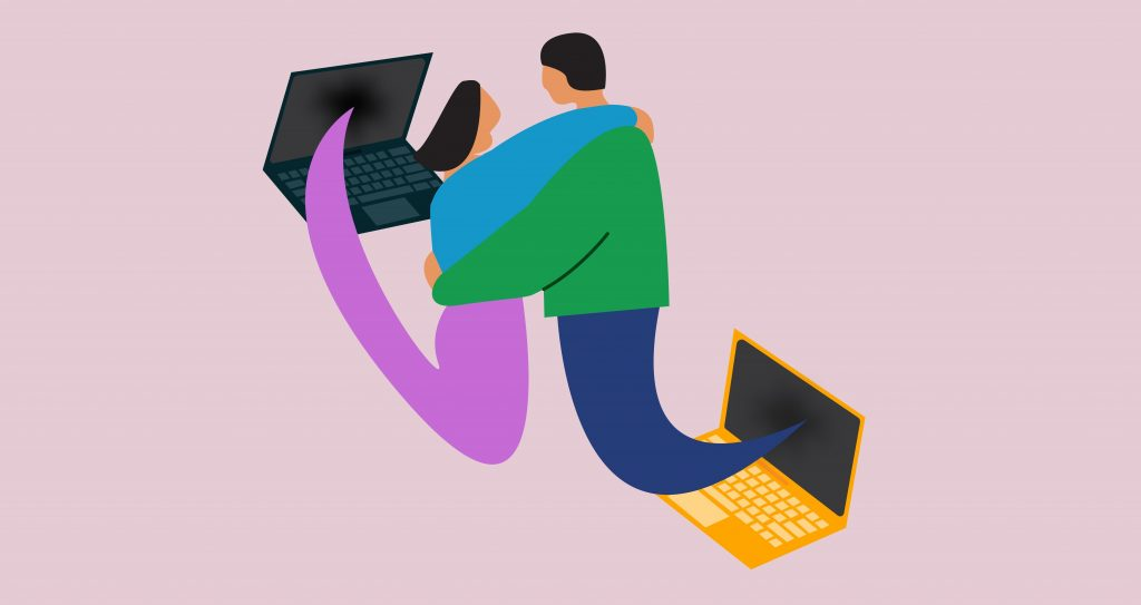 Illustration by Celina Koops of two friends emerging from the screens of their laptops a shared embrace.