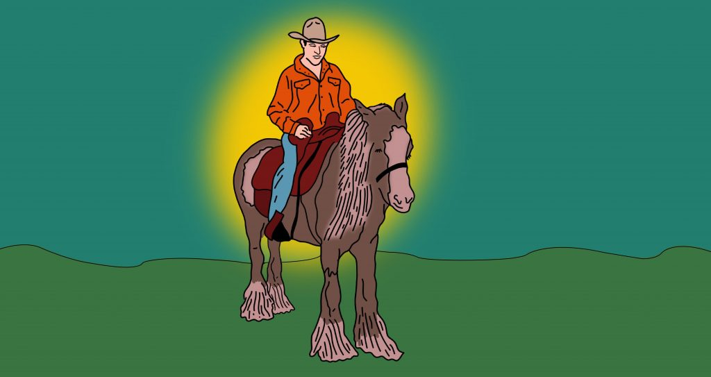 Illustration of Karsten Renaert wearing a cowboy hat and riding a horse, with a sun-like yellow glow illuminating him from behind.