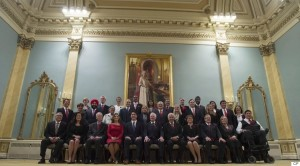 Prime Minister Justin Trudeau, fifth from left, and Governor General David Johnston, centre, pose for a group photo with the new Liberal cabinet at Rideau Hall in Ottawa on Wednesday, Nov. 4, 2015. Front row, left to right: Minister of Public Safety and Emergency Preparedness Ralph Goodale, Minister of Justice and Attorney General of Canada Jody Wilson-Raybould, Minister of Foreign Affairs Stephane Dion, Minister of International Trade Chrystia Freeland, Prime Minister Justin Trudeau, also minister of intergovernmental affairs and youth, Governor General David Johnston, Minister of Immigration, Refugees and Citizenship John McCallum, Minister of Public Services and Procurement Judy Foote, Minister of Agriculture and Agri-Food Lawrence MacAulay, Minister of Indigenous and Northern Affairs Carolyn Bennett and Minister of Veterans Affairs Kent Hehr, also associate minister of National Defence. Second row, left to right: President of the Treasury Board Scott Brison, Minister of International Development and La Francophonie Marie-Claude Bibeau, Minister of Innovation, Science and Economic Development Navdeep Singh Bains, Minister of National Revenue Diane Lebouthillier, Minister of Families, Children and Social Development Jean-Yves Duclos, Minister of Employment, Workforce Development and Labour MaryAnn Mihychuk, Minister of Transport Marc Garneau, Minister of Environment and Climate Change Catherine McKenna, Minister of Finance William Morneau, Minister of Canadian Heritage Melanie Joly, Leader of the Government in the House of Commons Dominic LeBlanc and Minister of Health Jane Philpott. Third row, left to right: Minister of Sport and Persons with Disabilities Carla Qualtrough, Minister of Natural Resources James Carr, Minister of Science Kirsty Duncan, Minister of Infrastructure and Communities Amarjeet Sohi, Minister of Small Business and Tourism Bardish Chagger, Minister of Fisheries, Oceans and the Canadian Coast Guard Hunter Tootoo, Minister of Status of Women Pa