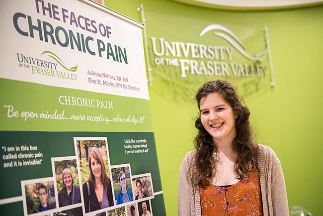 Elise St. Martin, UFV BA Student (pictured above) instrumental in the banner design and has assisted in promoting understanding and awareness along with JoAnne.