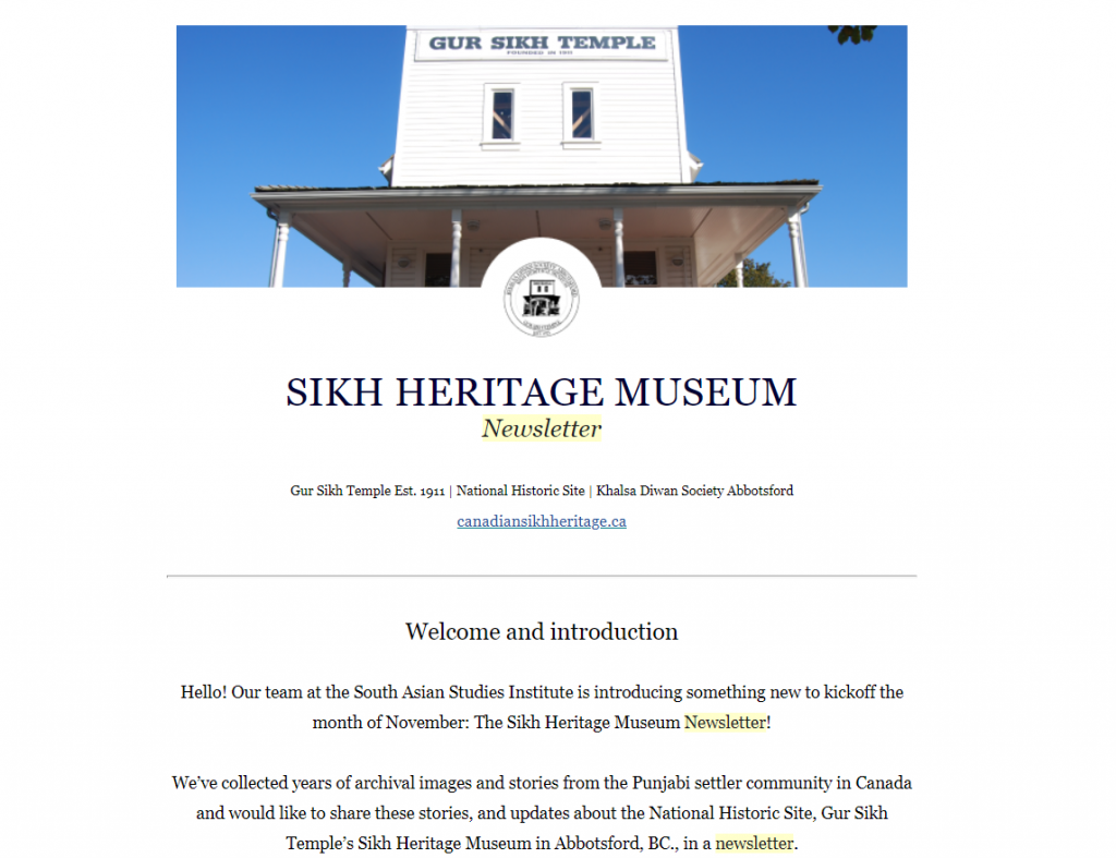 New Newsletter – the Sikh Heritage Museum, National Historic Site and Gur Sikh Temple