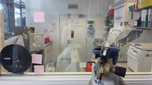 Here is a window into a containment level 3 laboratory where they work with pathogens such as Typhoid Fever.