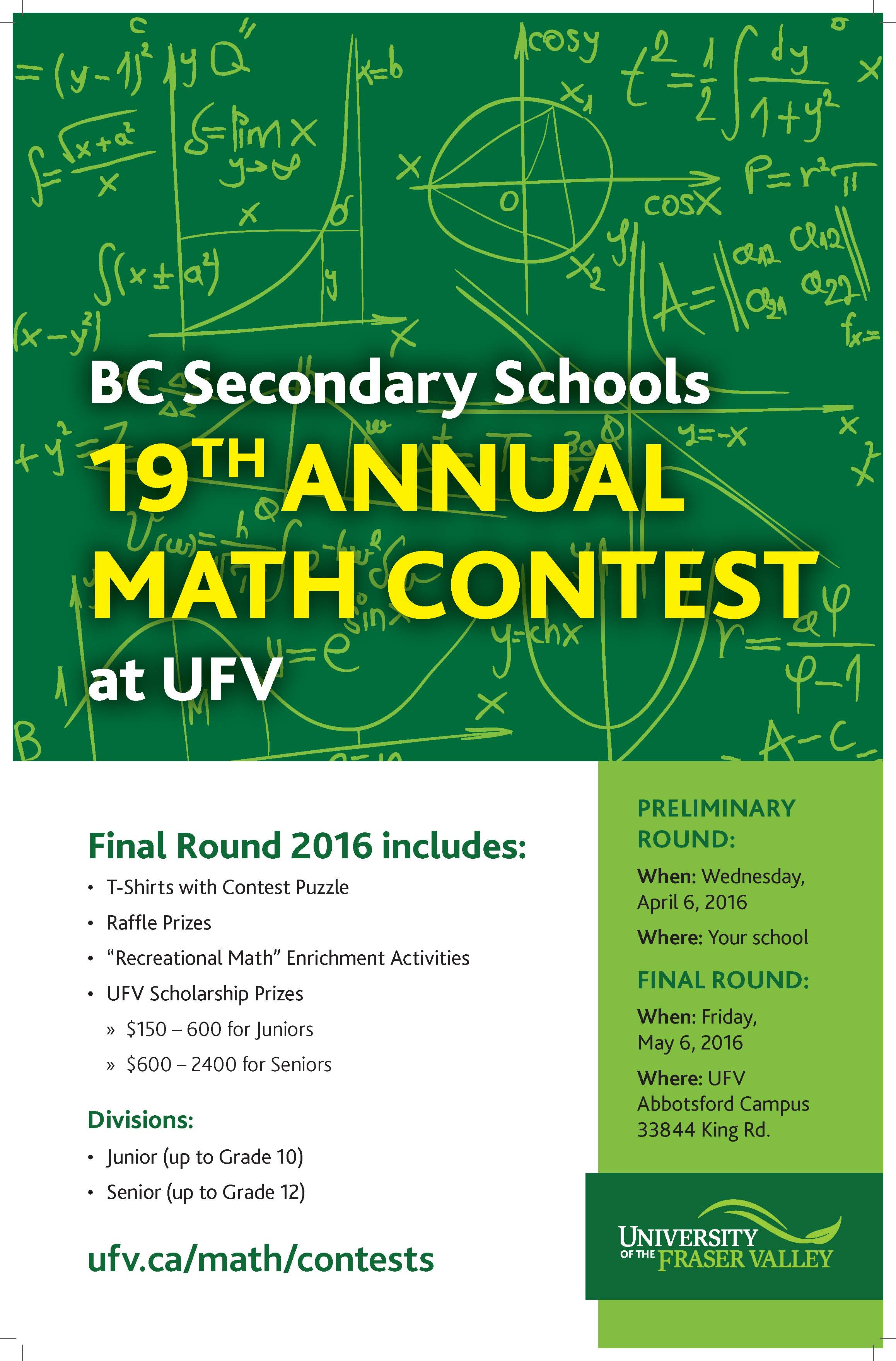 Ufv Hosting 19th Annual Bc Secondary School Math Contest on Geography For Grade 5