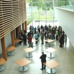UFV President Mark Evered welcomes members of the Rotary club to the new CEP building.