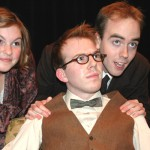 Danielle Warmenhoven, Thomas Smith, and Eli Funk in UFV Theatre's Once in a Lifetime.