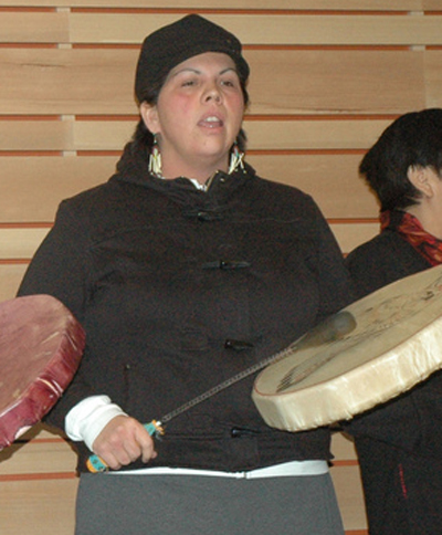 Joanne Guiterrez (shown drumming at the Dec 6 memorial event) is one of the speakers slated for the UFV educational forum on Idle No More.
