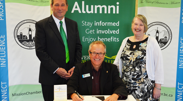 UFV Alumni Association chair Tony Luck with Sean Melia and Michelle Favero, president and executive director of the Mission Chamber of Commerce.