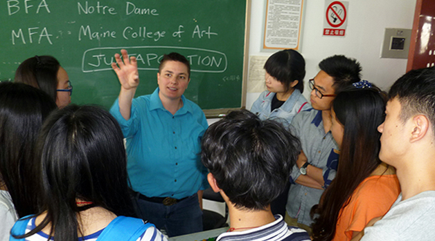 Shelley Stefan getting to know her students in China.