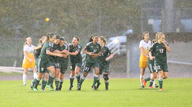 UFV women's soccer team celebrates quarterfinal playoff victory. Photo: APshutter.com