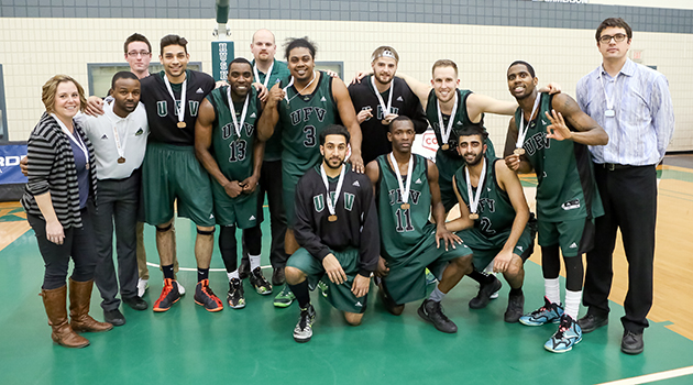 UFV's men's basketball players are Canada West bronze medalists after beating UBC in Saskatoon. Photo: Josh Schaefer Photography.