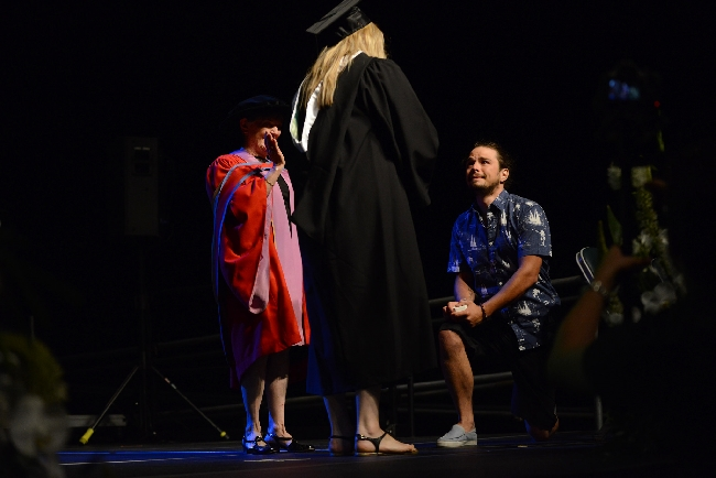 Brett Taylor proposes to Sasha Morneau during UFV Convocation