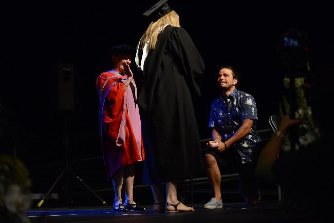 Brett Taylor proposes to Sasha Morneau during UFV Convocation