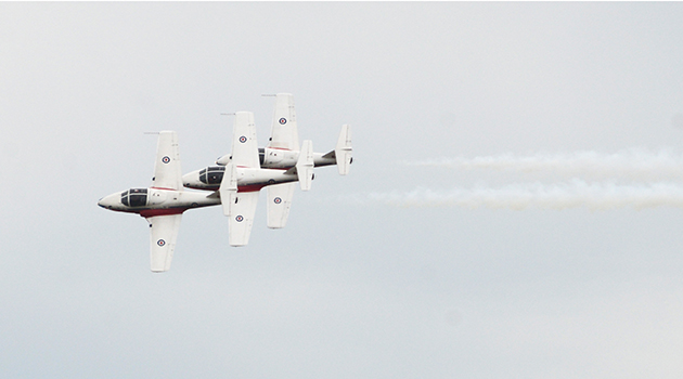The Canadian Forces Snowbirds perform above the UFV chalet at Abbotsford International Airshow
