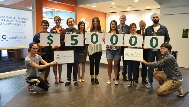 Student leaders help celebrate Coast Capital's latest much-appreciated donation to UFV.
