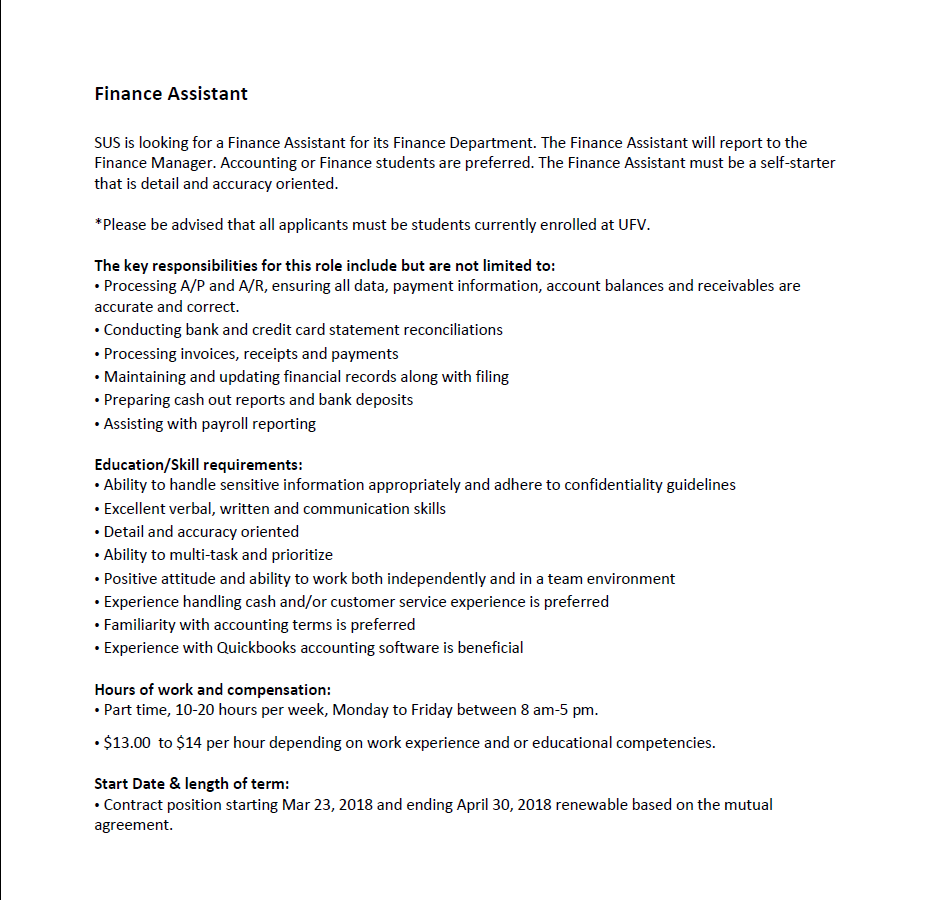 job opportunity ufv sus finance assistant student position ufv school of business