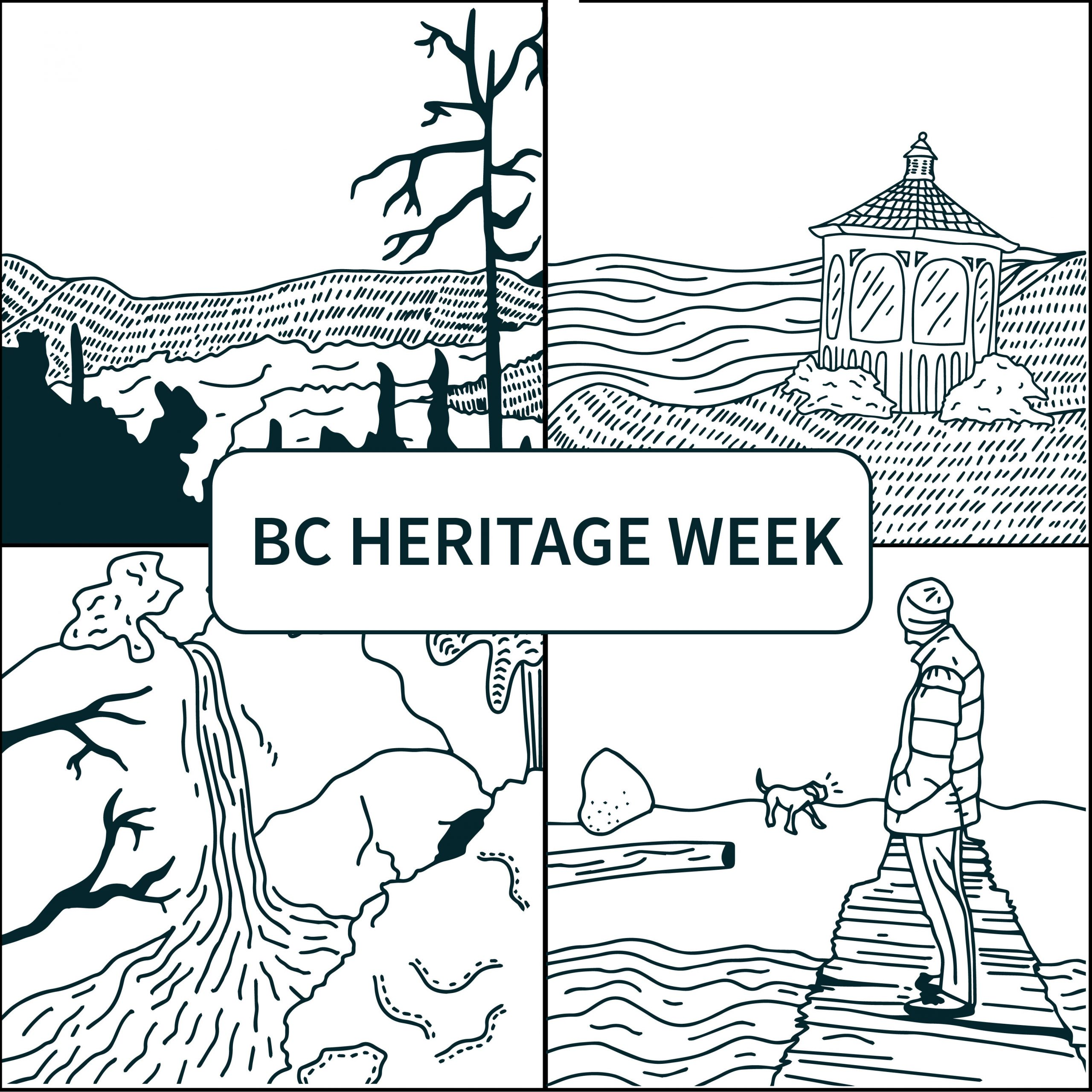 4 illustrated landscapes: hills and trees; a person watches a dog; a gazebo in a field, a waterfall down a mountain.