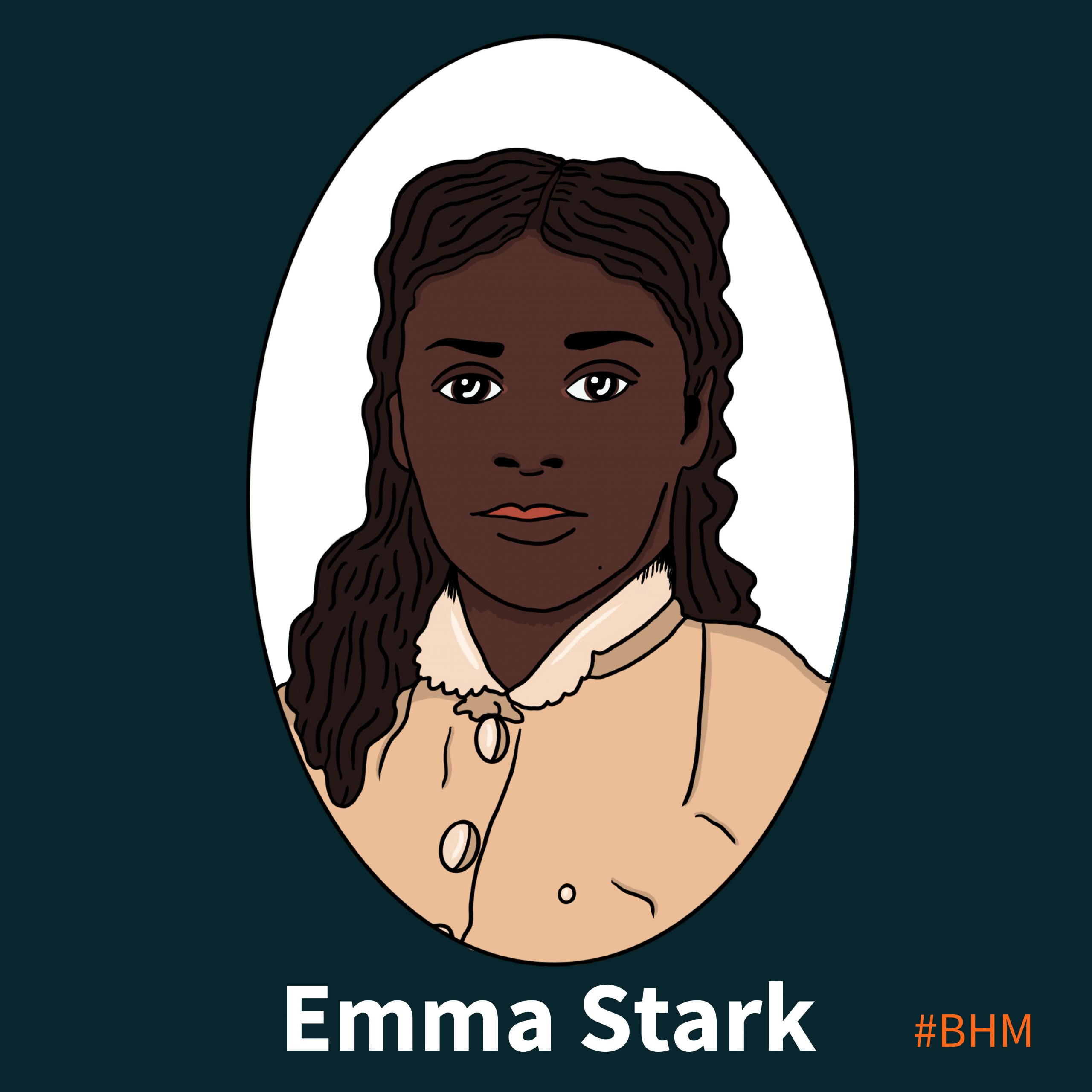 Illustration of Emma Stark, with the text #BHM