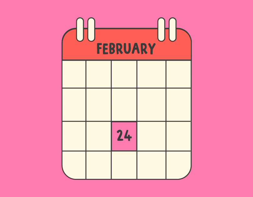 Illusstration of a calendar showing February 24 highlighted in pink.