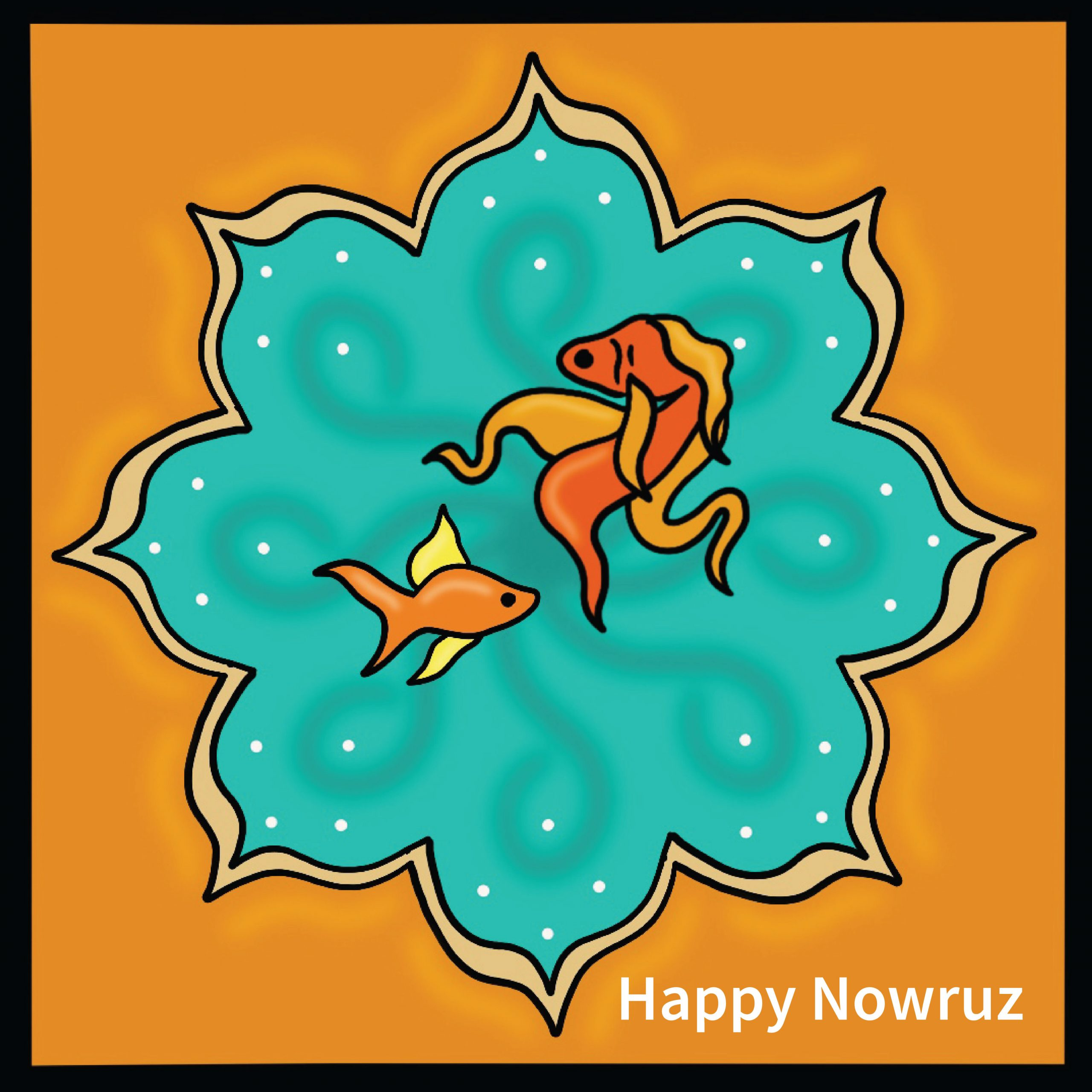 """Illustration of two goldfish in a flower-shaped bowl, with the text """"happy Nowruz,"""""""