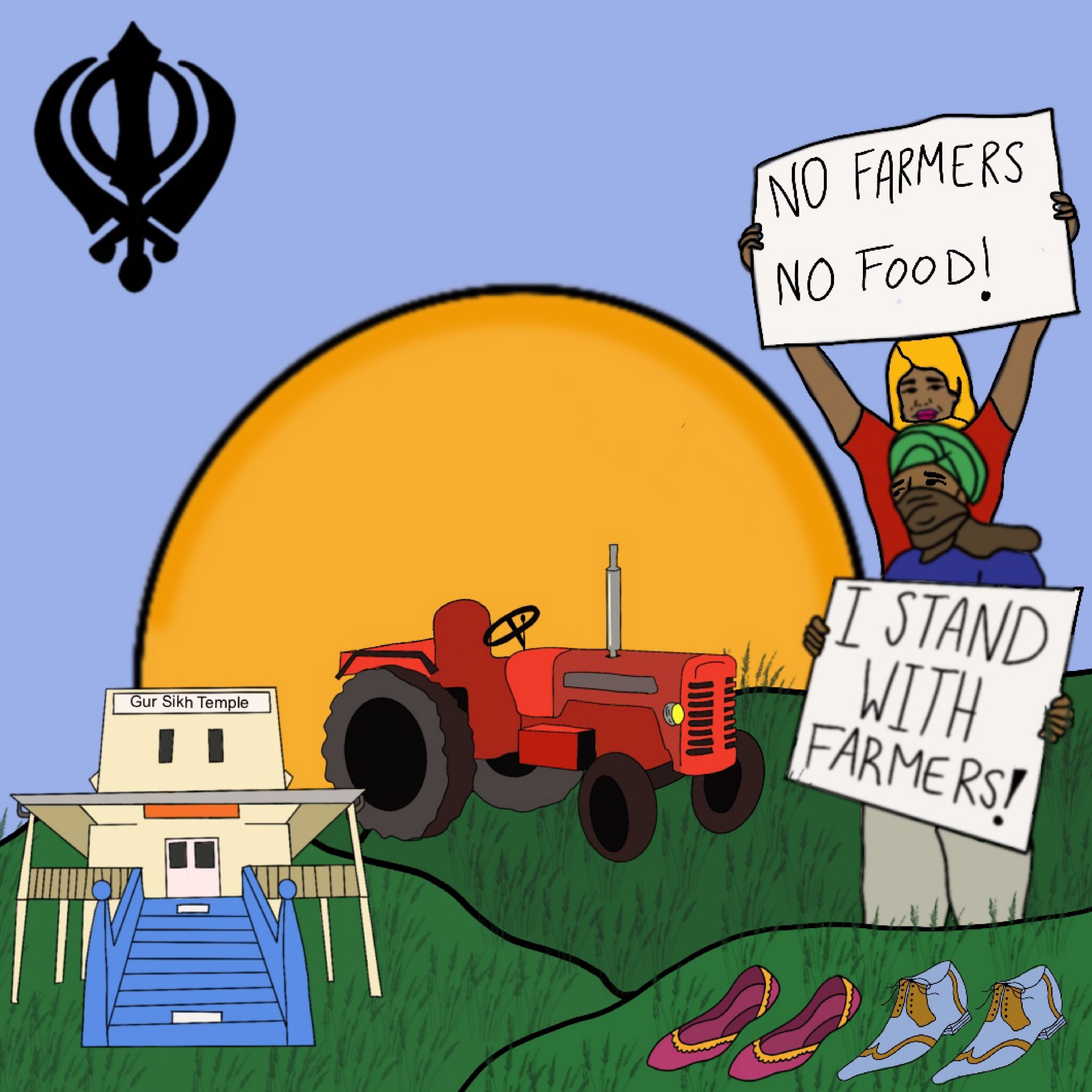 Illustration of protestors supporting farmers, Gur Sikh Temple, and a large sun over rolling hills