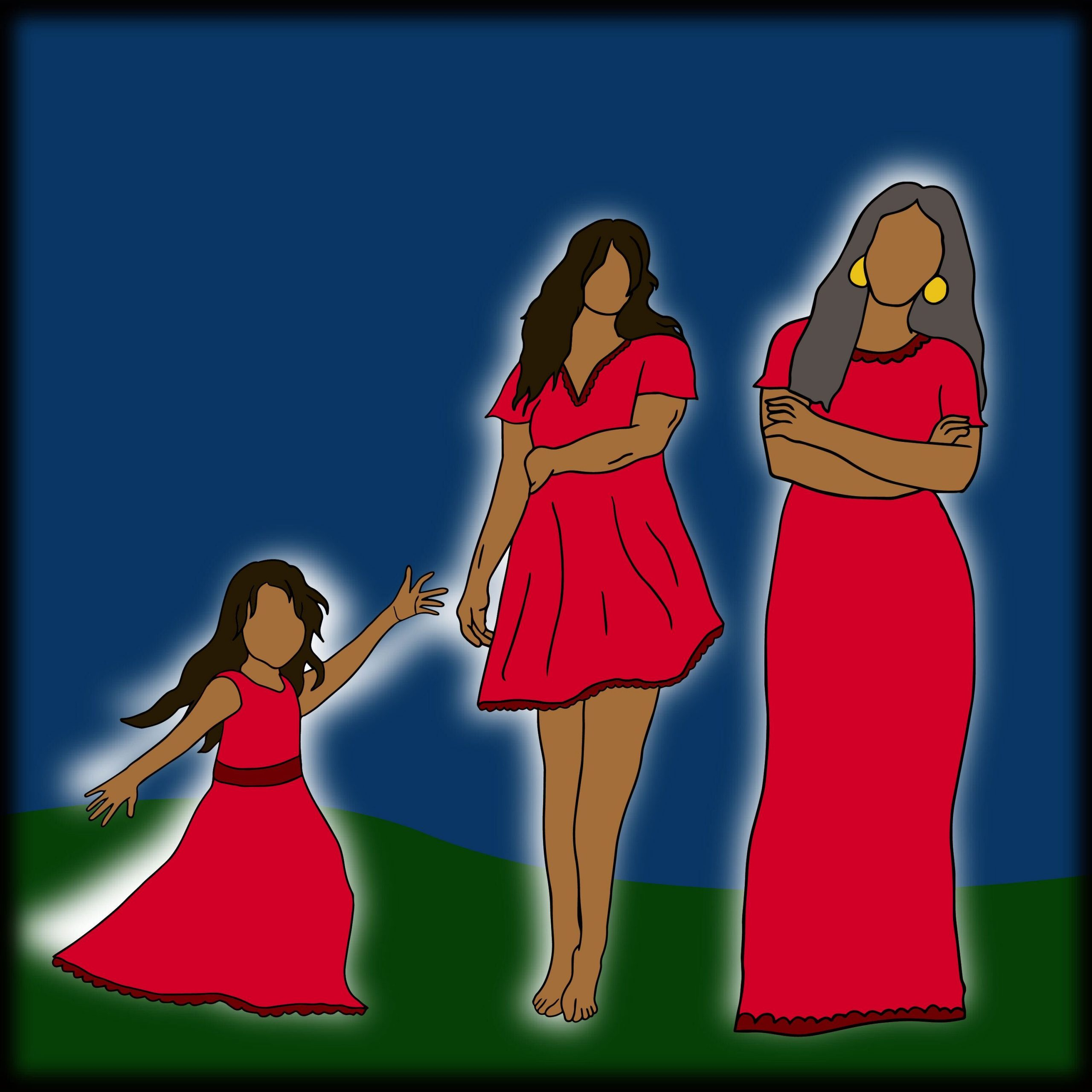 Three faceless Indigenous women in red dresses. A child dances joyfully, an adult is guarded, and an elder is concerned.