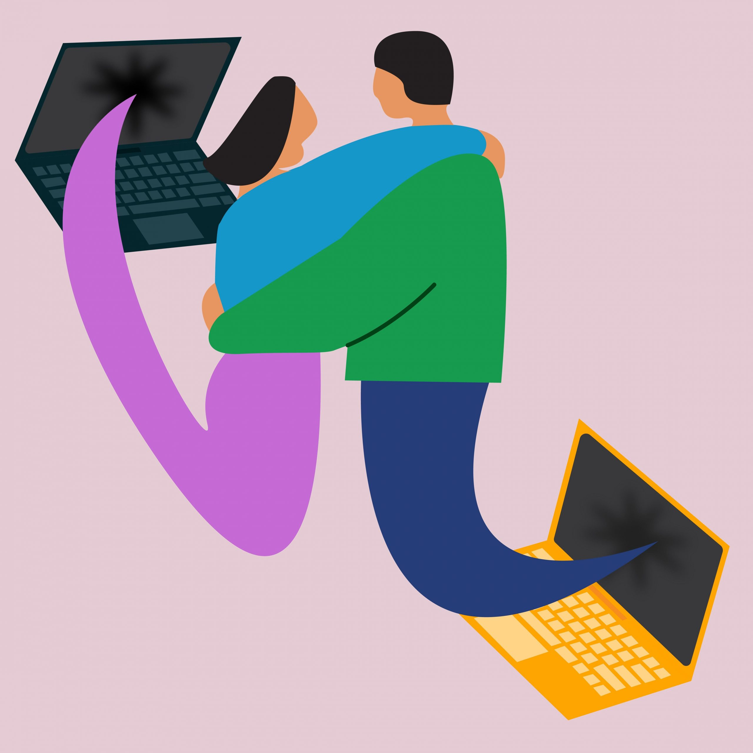 Illustration by Celina Koops of two friends emerging from the screens of their laptops to share a hug.