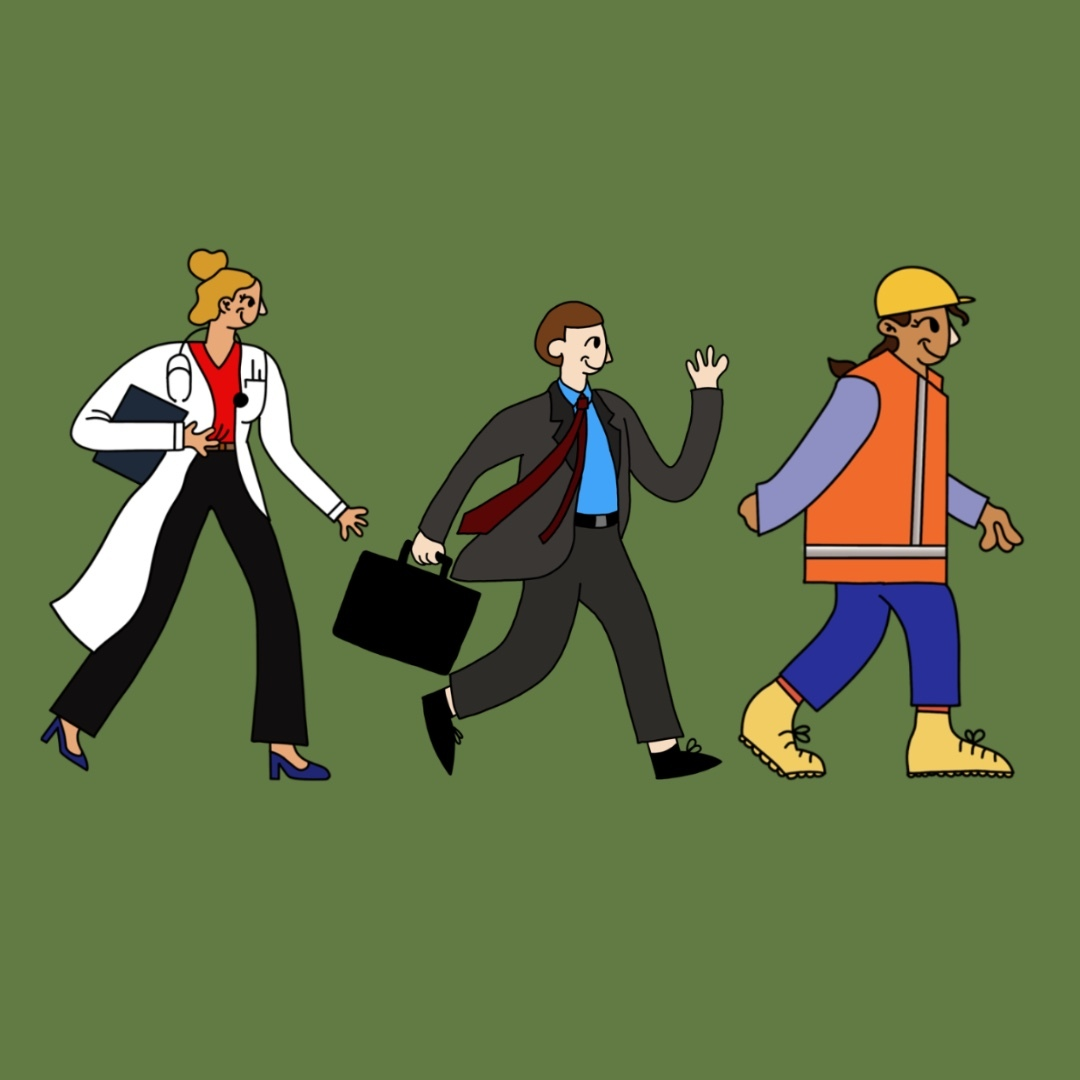 Illustration by Celina Koops of workers in clothes indicating different professions: a healthcare worker, a person in a suit, and a construction worker.
