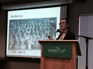 Dr Penny Park presenting at UFV Abbotsford Campus. Photograph by Betsy Terpsma.