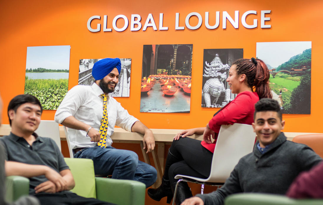 Students in the Global Lounge