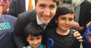Justin Trudeau with two children