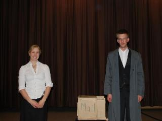 Danielle Konrad and Koos Van Nieuwkoop receive a round of applause for their play about a controversial correspondence between two mathematicians in the 18th century, performed at the 2009 contest.