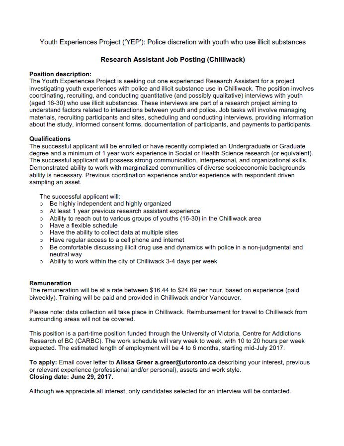 Job Opportunity  Research Assistant  Social Work And Human Services