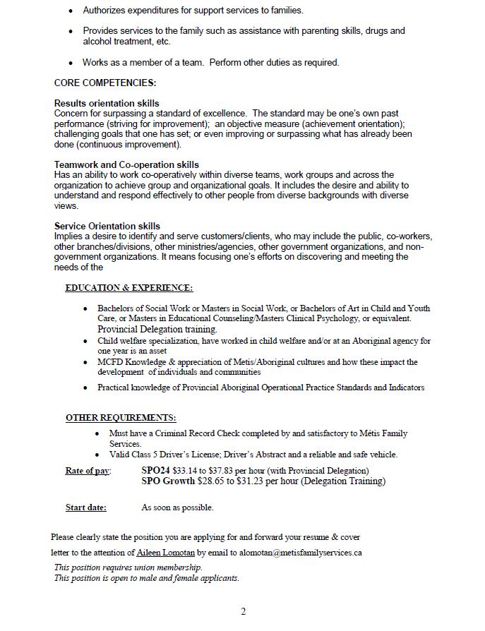Youth Support Worker Cover Letter