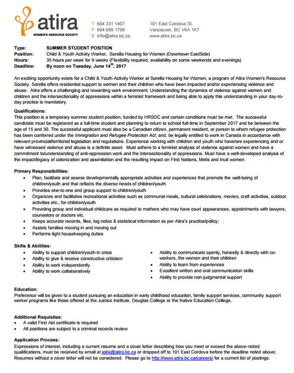 Job Opportunity Atira Child Youth Activity Worker Social