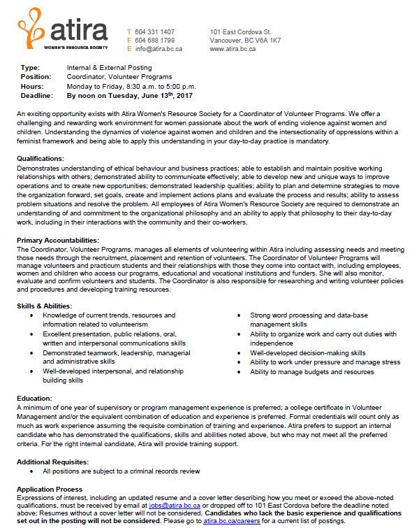 Job Opportunity \u2013 Atira \u2013 Coordinator \u2013 Social Work and Human Services