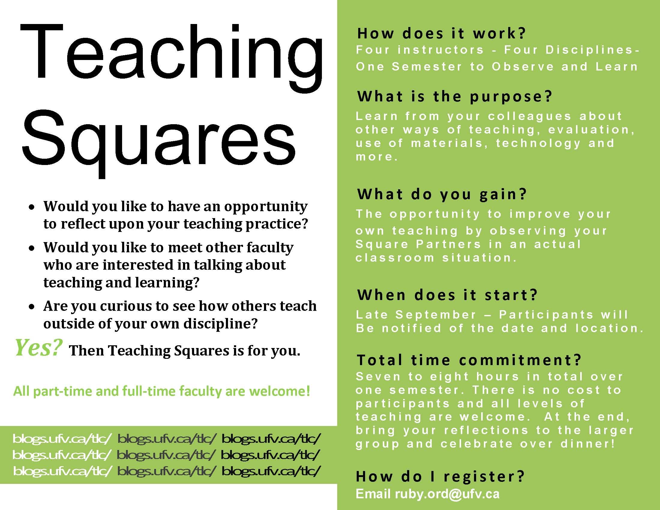 Teaching sqaures flyer