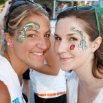 Some brightly painted faces at the Tailgate party