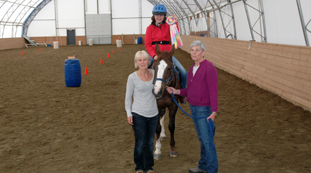 Daphne Clegg and Pat Fuller with one of the enthusiastic riders.