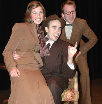Danielle Warmenhoven, Eli Funk, and Thomas Smith  in UFV Theatre's Once in a Lifetime.