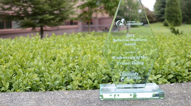 UFV's Fraser Valley Cultural Diversity Award trophy