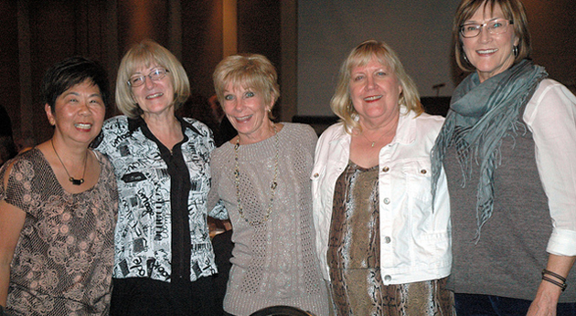 The program is now known as Applied Business Tech, but back when these women all worked together it was called Office Careers. Sandi Sasaki (left) and Kathie Ramsay (second from right), are welcomed to retirement by previous retirees Jane Dean, Carole Higginbottom, and Bonnie Anderson.