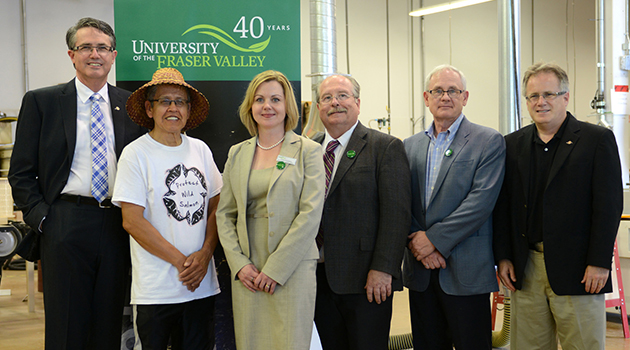 L to R: Dr. Laurie Throness, MLA Chilliwack-Hope, Eddie Gardner, UFV Elder, Leslie Courchesne, UFV Executive Director, University Relations, John Martin, MLA Chilliwack, John English, UFV Dean, Faculty of Applied and Technical Studies, Marc Dalton, MLA Maple Ridge-Mission.
