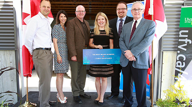 L to R: BC Dairy Farmer Devan Toop, UFV Acting President and VP Students Jody Gordon, UFV Board of Governors Chair Barry Delaney, Western Economic Diversification Minister Michelle Rempel, MP Chilliwack-Fraser Canyon Mark Strahl, UFV Dean of Applied and Technical Studies John English.