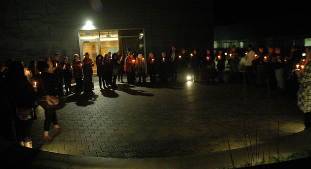 A scene from the candlelight vigil in 2012. This year's vigil will be during daylight hours, at 12:30 outside the Gathering Place at UFV's Chilliwack campus.