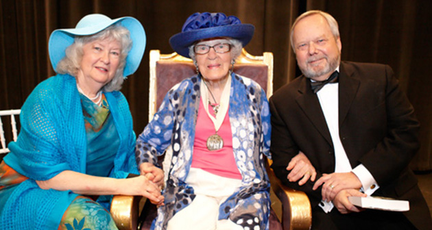 Dr. Jean Scott, with Maureen and Mark Evered at her side, at her 100th birthday party, a fundraiser for her scholarship.