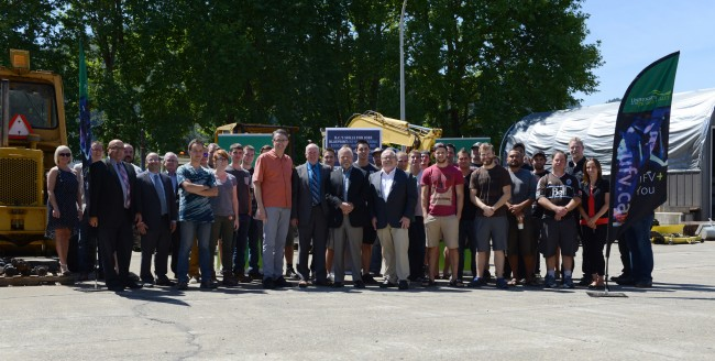 UFV staff and Chilliwack MLA's John Martin and Laurie Throness mark trades equipment funding announcement with electrical trades students.