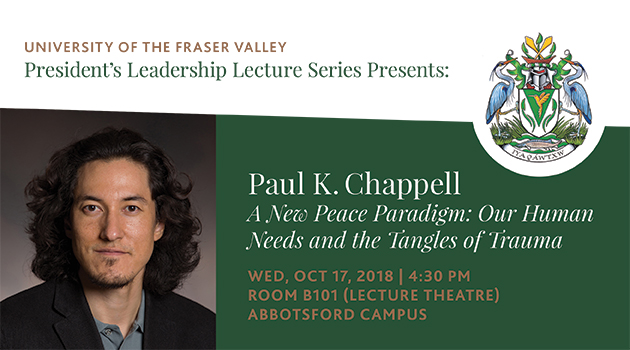 Peace activist and war veteran Paul K. Chappell to bring message of peace literacy to UFV
